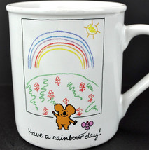 Koala Bear Have A Rainbow Day Vtg Hallmark Coffee Mug Tea Cup Japan Smile Cute - $13.50
