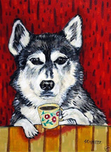 animal Art oil painting printed on canvas home decor siberian husky  - $14.99