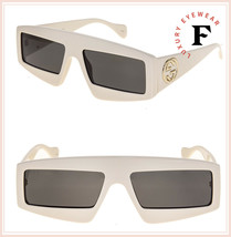 GUCCI 0358 Ivory Grey Geometric Mask Sunglasses GG0358S Unisex Authentic... - $272.25