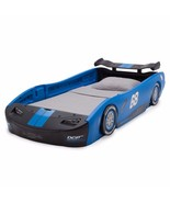 Kids Twin Bed Blue Sports Racing Car Nascar Toddler boy wheels zoom ride... - $279.98