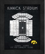"Iowa Hawkeyes Kinnick ""Retro"" Stadium Seating Chart 13 x 16 Framed Print  - $39.95"