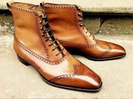 Handmade Men's Brown Leather Wing Tip High Ankle Lace Up Leather Boots image 2
