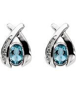 14K White Gold Contemporary Style Aquamarine & Diamond Earrings - $545.00