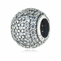 Brand New! Authentic Pandora Bead Silver Clear Pave Lights CZ Charm 7910... - $19.62