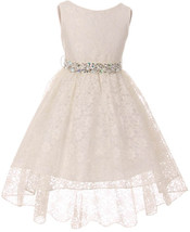 Flower Girl Dress Hi-Low Style Lace Allover Ivory MBK 360 - $39.59+