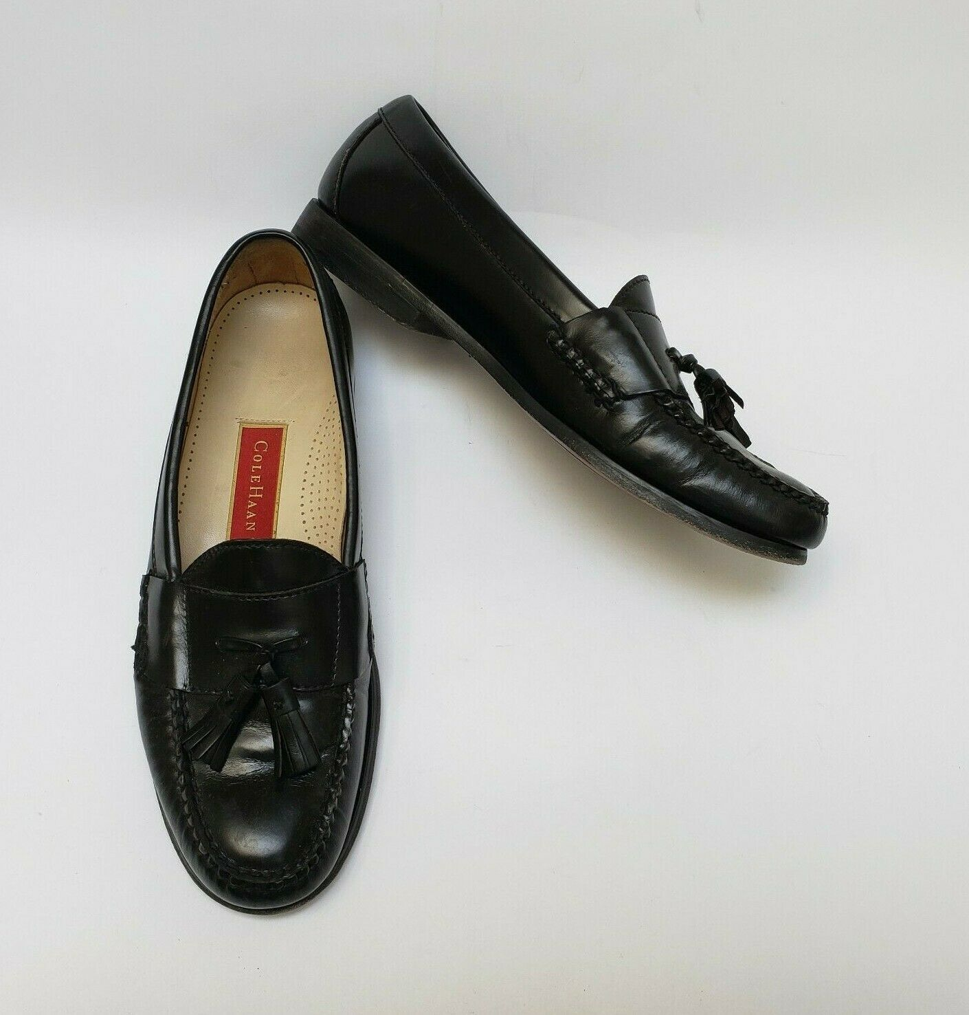 Primary image for Cole Haan Mens Shoes Black Loafers Tassel Slip On Size 9 B
