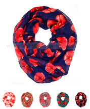 Poppy Flower Floral Print Block Circle Loop Wrap Infinity Scarf Casual F... - $6.45