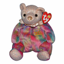 Ty Beanie Baby Birthday Bear October 2001 Opal NEW - $5.93