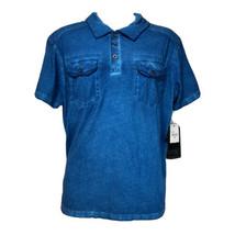 Chalc Mens Blue dual pocket Short Sleeve Collared Cotton shirt Size M - $19.79