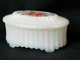 Fenton Glass Trinket Box Iridescent Opalescent Hand Painted D Anderson Jewelry - $40.80