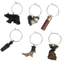 Hunting Wine Glass Charm Set of 6 Mallard Duck Bear Moose Antler Shotgun... - $11.87