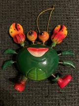Christmas crab ornament with spring action legs and claws - $7.92