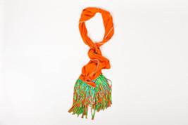 "Hermes Orange Multicolor Silk ""La Danse du Cheval Marwari Fringe"" Stole ... - $370.00"
