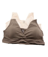 AnyBody Seamless Crossover Bra Removable Pads Set 2 Taupe Blush 1X NEW A... - $27.70