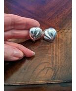 Vintage 1970s Sterling Silver Puff Hearts Pierced Earrings - $13.00