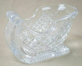 CRYSTAL CHRISTMAS HOLIDAY SLEIGH SLED FLOWERS NUTS CANDY DISH DECORATION - $19.79