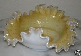 Victorian Antique Art Glass Spangle Ware ruffled nappy with Silver Mica - $70.13