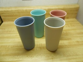 tupperware tumblers mauve, blue, gray, and turquoise - $14.20
