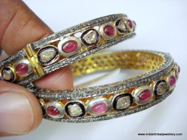 sterling silver gold vermeil gold gild bangle bracelet diamond ruby gemstones