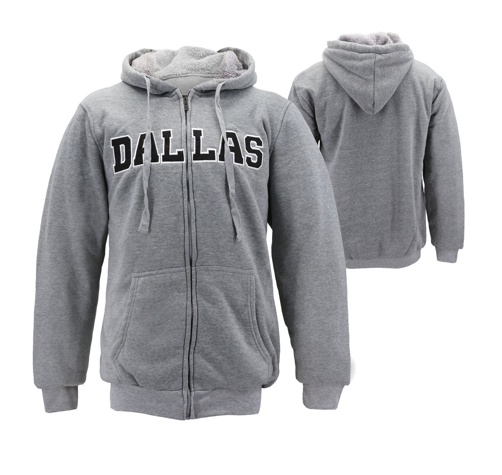 Men's Dallas Embroidered Sherpa Lined Warm Zip Up Fleece Hoodie Sweater Jacket