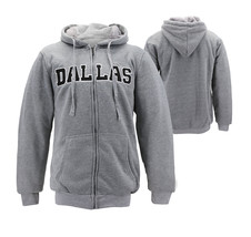 Men's Dallas Embroidered Sherpa Lined Warm Zip Up Fleece Hoodie Sweater Jacket image 1