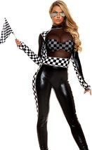 Forplay Women's Finish Line Deluxe Metallic Race Car Driver Costume Set