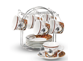 Coffee Cup Holder Espresso Set Wedding Gift Ideas Mom White Brown Bean 1... - $38.60