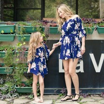 Family Matching Outfits 2019 Summer Off Shoulder Floral Dress Chiffon Gi... - $16.00