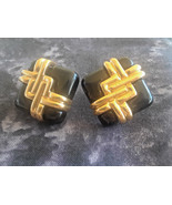 STUNNING VINTAGE ESTATE SIGNED AVON BACK & GOLD TONE CLIP ON EARRINGS CH... - $3.00