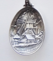 Collector Souvenir Spoon Netherlands Holland Man Pails Shoulder Pole Repousse - $14.99