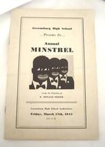 Vintage Greenburg Pennsylvania High School Anual Minstrel 1944 Program - $14.99