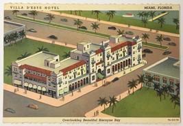 Vintage Old Linen Era Postcard Villa D'este Hotel Biscayne Bay Miami Flo... - $11.75