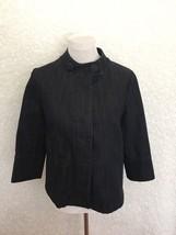 Talbots Denim Jean Jacket Womens S Dark Wash Hidden Button Up Stretch 3/... - $34.99