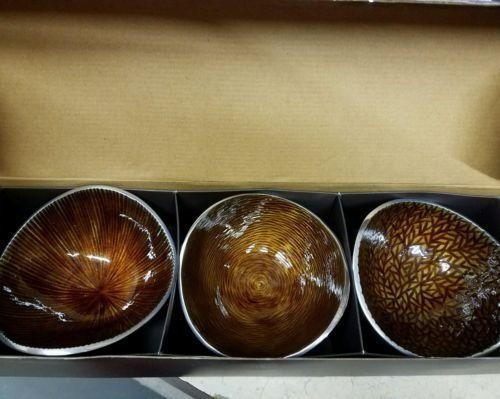 Simplydisgnz Small Nut Bowls Dark Amber Set of 3