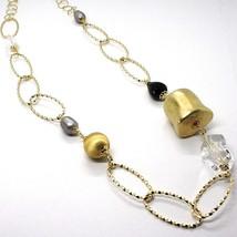 Collier en Argent 925, Jaune, Onyx, Perles Grises, Ovales Tressé, 95 CM image 2