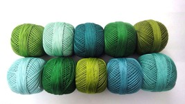 SET LOT - 10 SHADES OF GREEN Cotton Yarn Thread Crochet Knitting Embroid... - $16.82