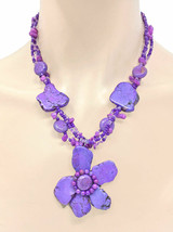 Statement Flower Necklace Earrings Simulated Purple-Lavender Natural Stones - $18.05