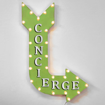 """36"""" CONCIERGE Curved Arrow Sign Light Up Metal Marquee Vintage Ice Cream... - $155.93+"""