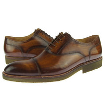 Handcrafted Men Premium Leather Burnished Brown Color Party Wear Oxford Shoes - $139.90+