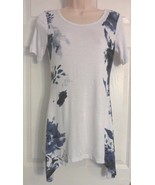 Venus Stretchy Assmettric Hem Tunic white and blue watercolor top Sz Xs - $9.49