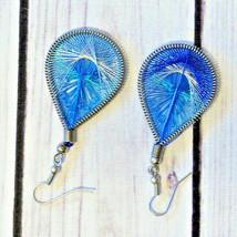 vintage bright blue woven knit earrings earrings pierced teardrop drop - $7.91