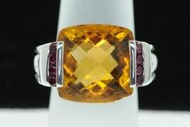 DAVID YURMAN Sterling Silver Citrine and Ruby Deco Albion Ring (Sz 4.5) - $565.00