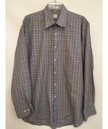Peter Millar Blue Houndstooth Long Sleeve Button Down Dress Shirt 100% C... - $24.74