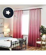 Hughapy 1-Piece Gradient Tulle Overlay Hollow-Out Stars Curtain Star Cut... - $27.80