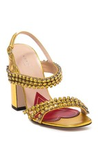 NIB GUCCI Bertie gold leather crystal sandals shoes IT 37; Rtl $1250 - $395.99