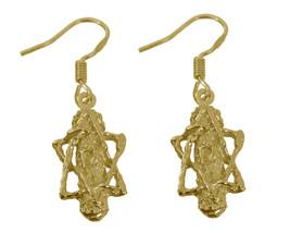 NICE Jewish Mezuzah 24K Gold Plated Earrings Hebrew Torah Judaism chai s... - $541,80 MXN
