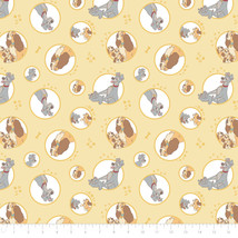 Disney Lady & The Tramp Family Yellow Camelot 100% cotton fabric by the ... - $9.97