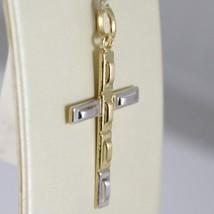 Pendentif Croix or Jaune Blanc 750 18K, Rectangles, Satin, Fabriqué en Italie image 2