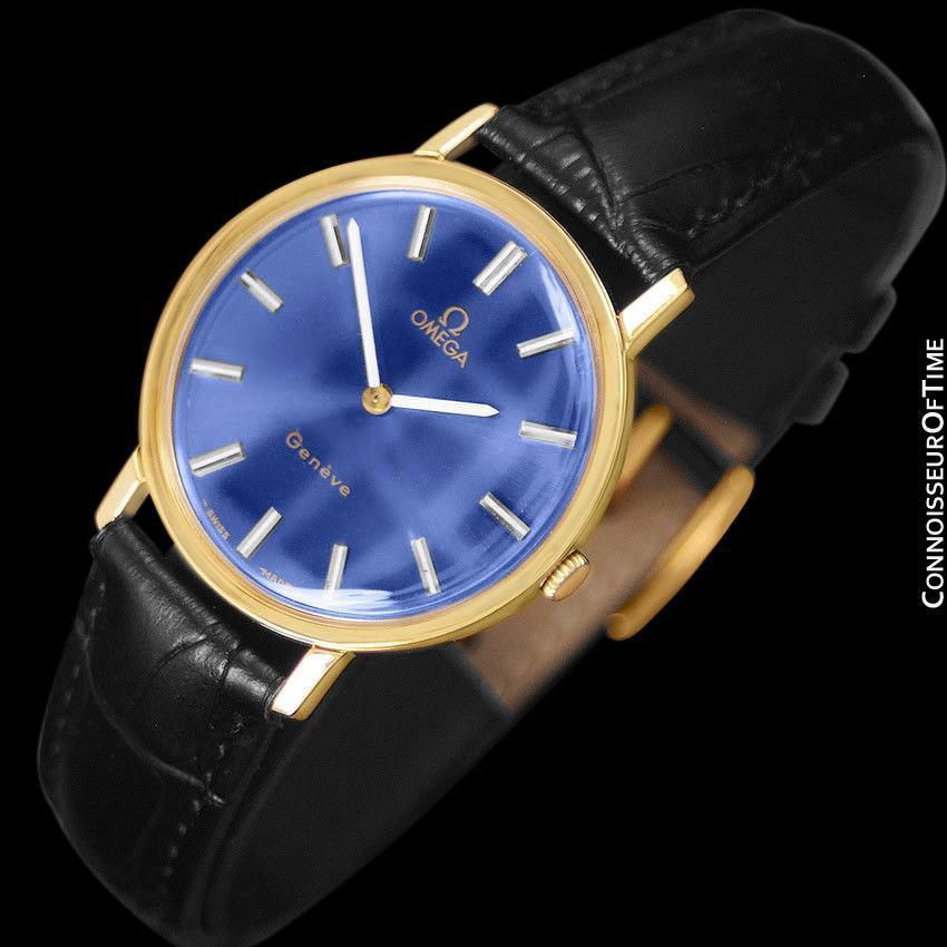 1975 OMEGA GENEVE Vintage Mens Midsize Handwound Watch - 18K Gold Plated SS