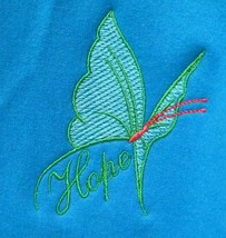 Green/Teal Butterfly HOPE Crew XL Caribbean Blue Sweatshirt Cancer Unise... - $25.45